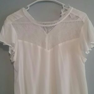 H&M Sheer White Lace Blouse